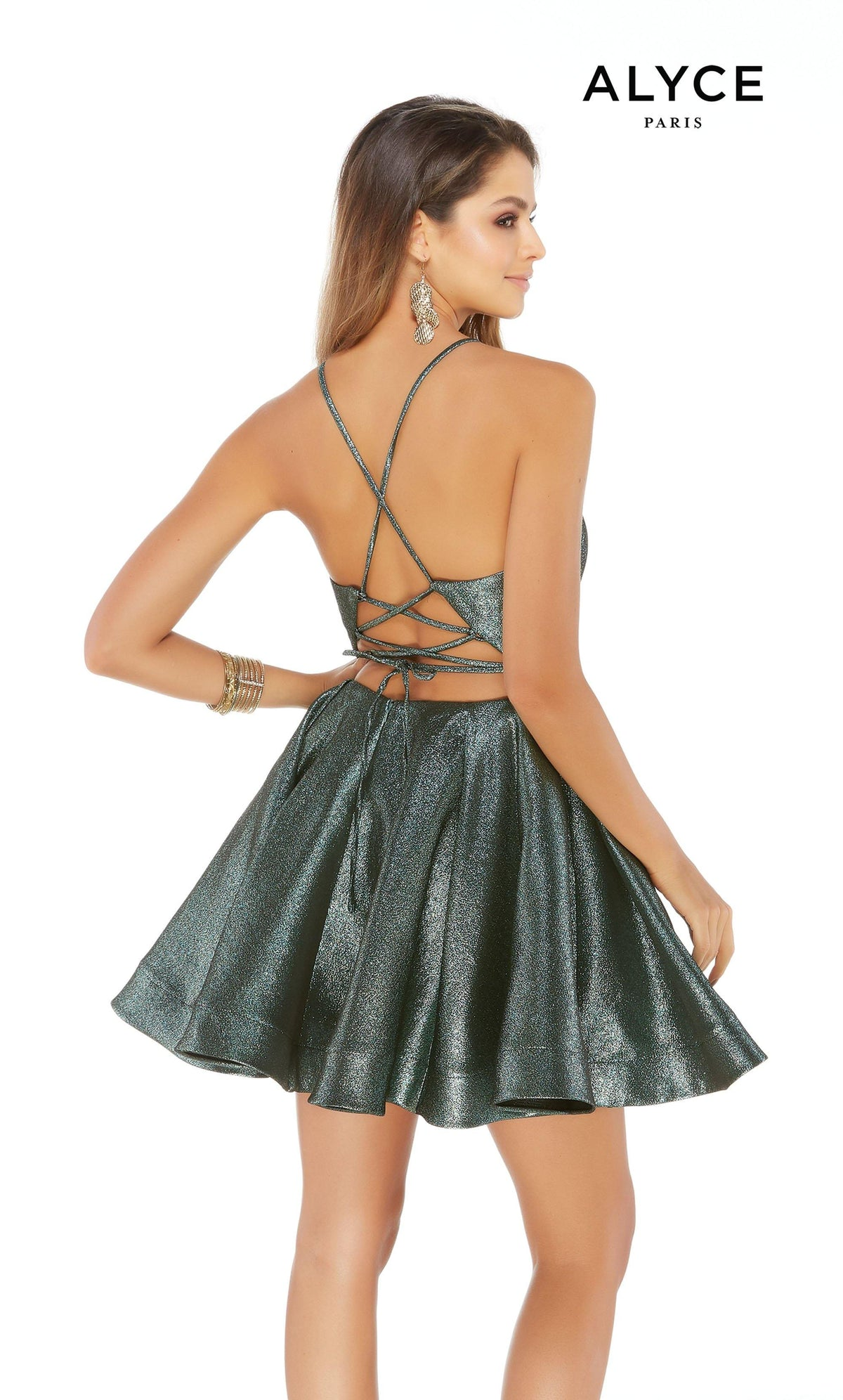 Short Metallic Sage glitter party dress with a strappy open back