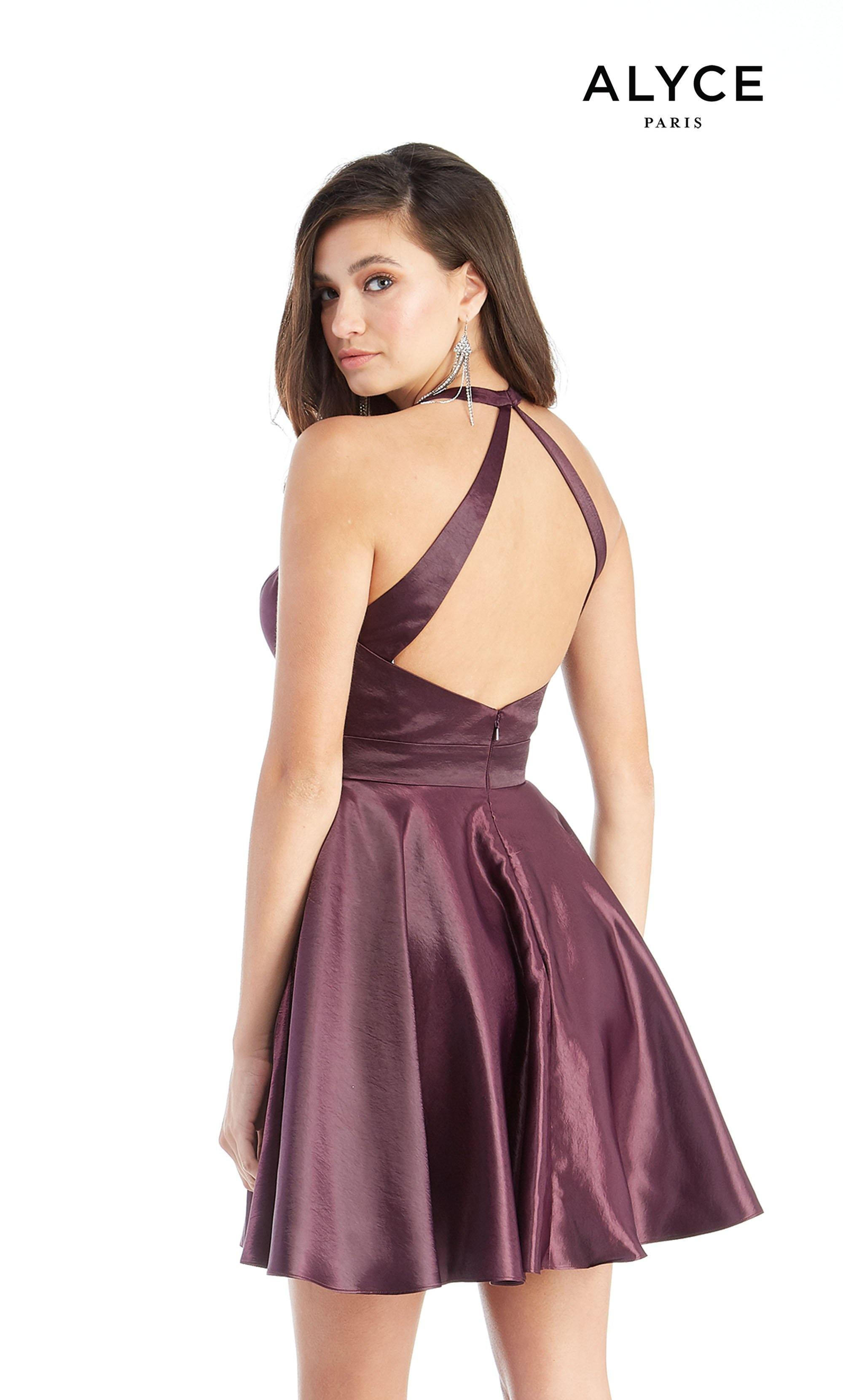 Short Purple simple party dress with an adjustable plunging neckline