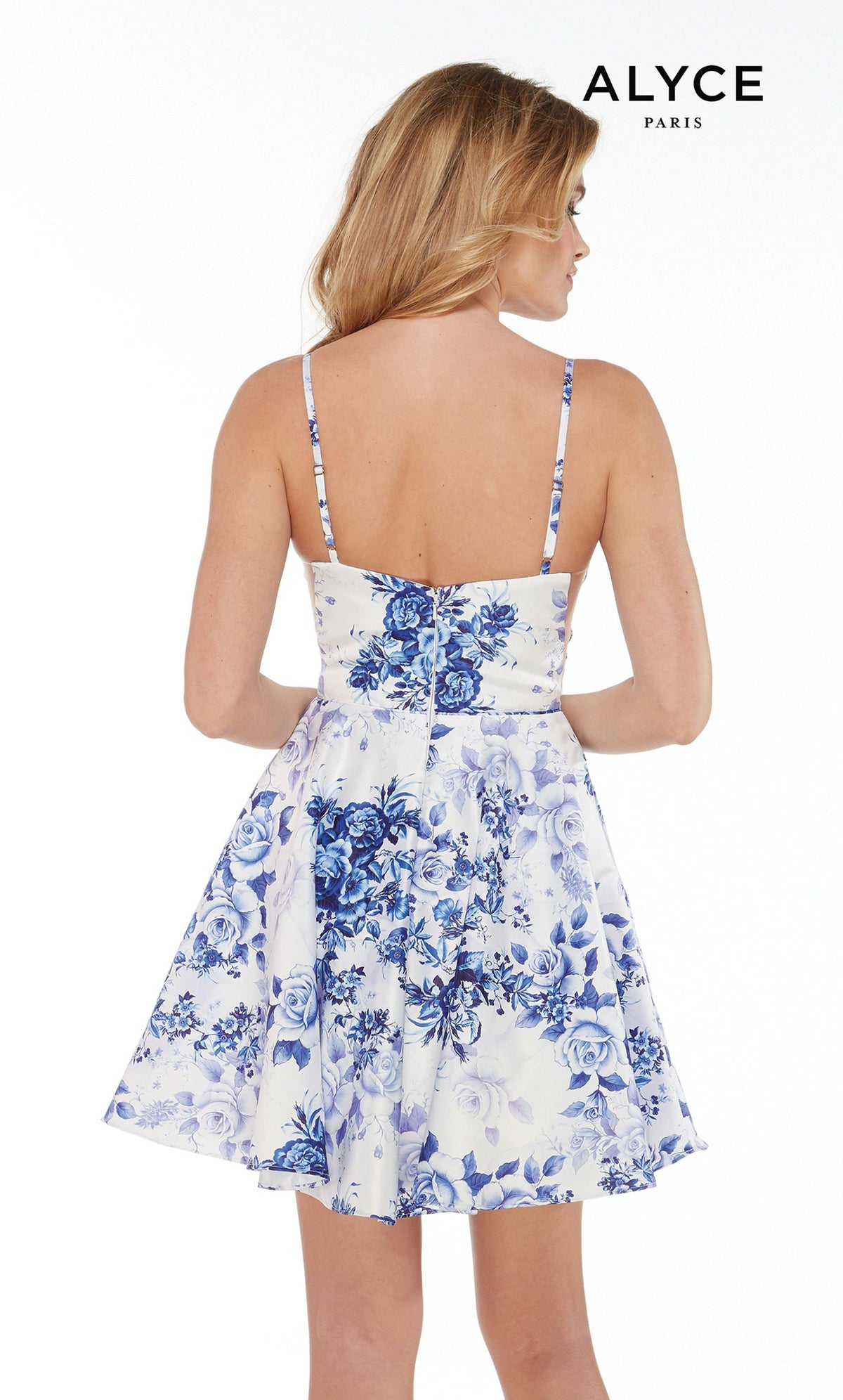 Short White satin semi formal dress for juniors with Royal Blue floral print and an enclosed back