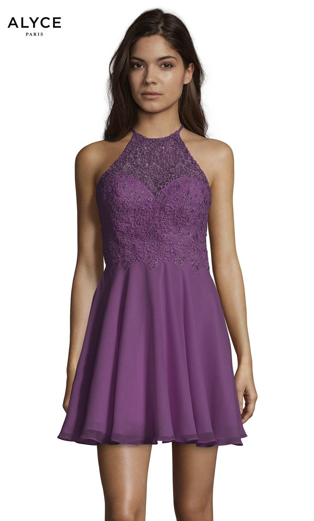 Formal Dress: 3717. Short, Halter, Flowy, Strappy Back