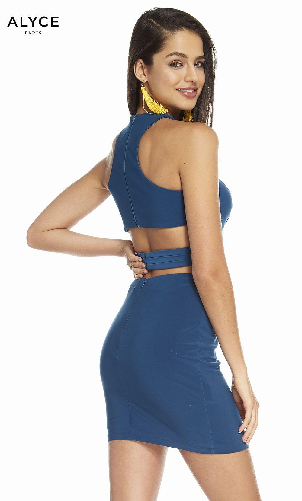Alyce 4093 short two piece jersey bodycon dress with a cutout back and keyhole front