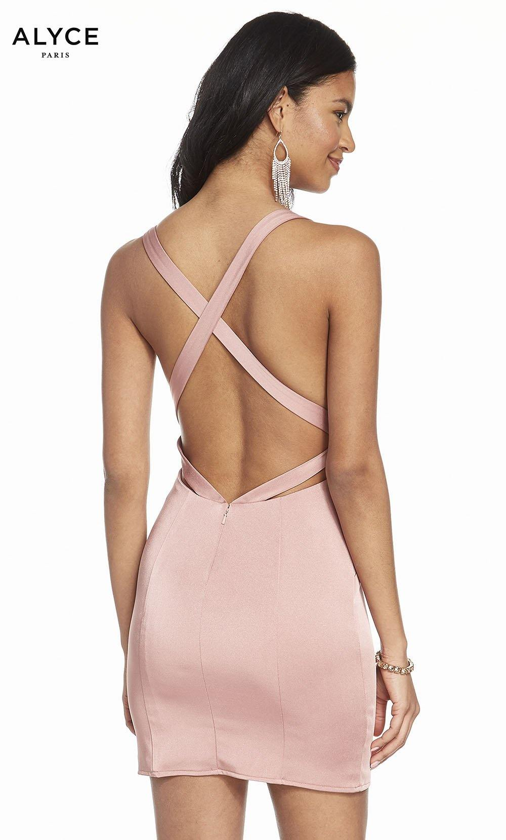 Alyce 4099 short stretch crepe bodycon dress with a strappy back