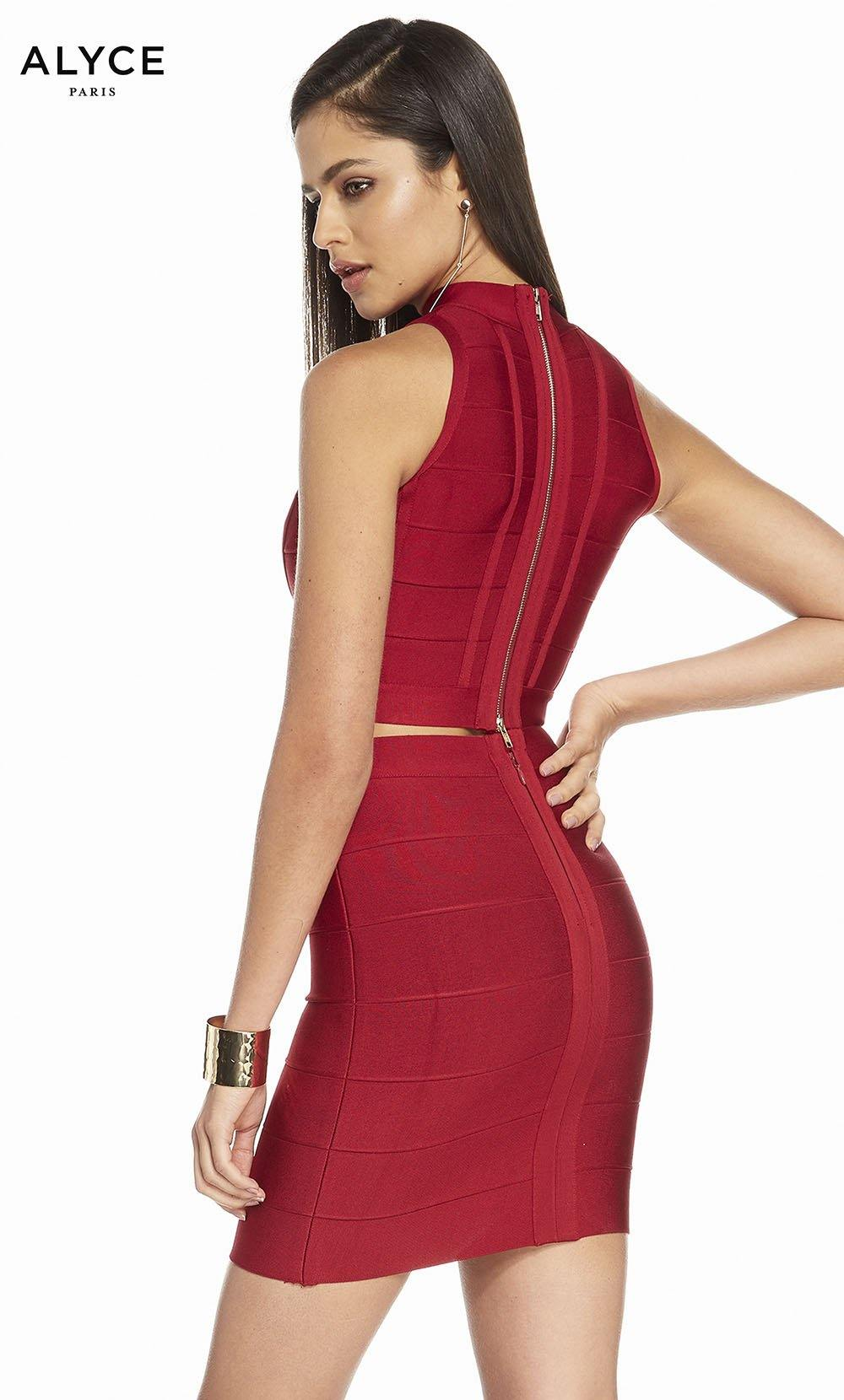 Alyce 4111 short two piece bandage jersey bodycon dress with an enclosed back