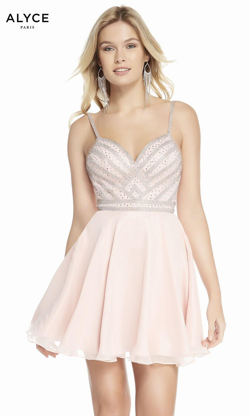 Alyce 4150 short fit and flare chiffon dress with a sweetheart neckline and beaded bodice