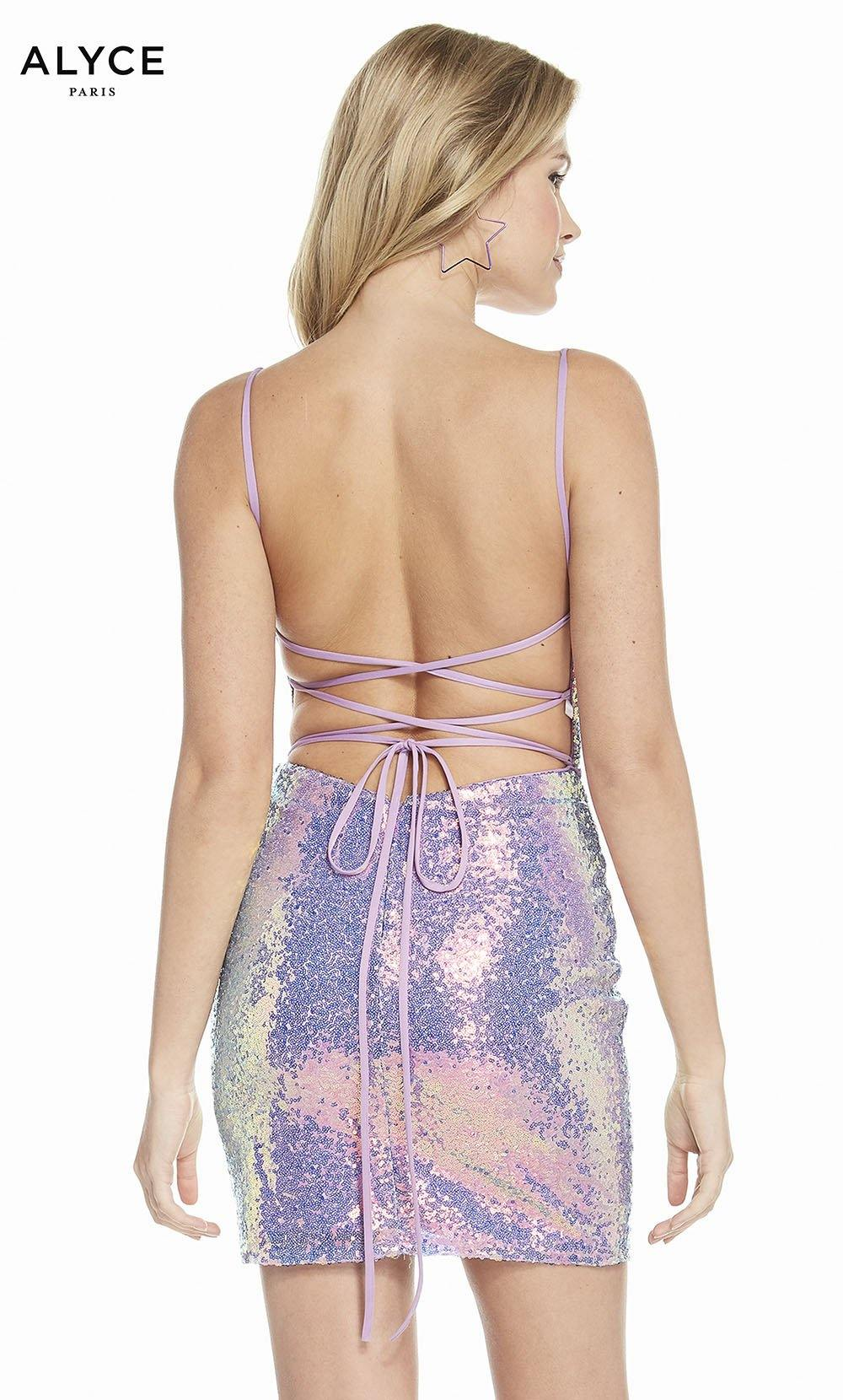 Alyce 4201 short sequins dress with a strappy back