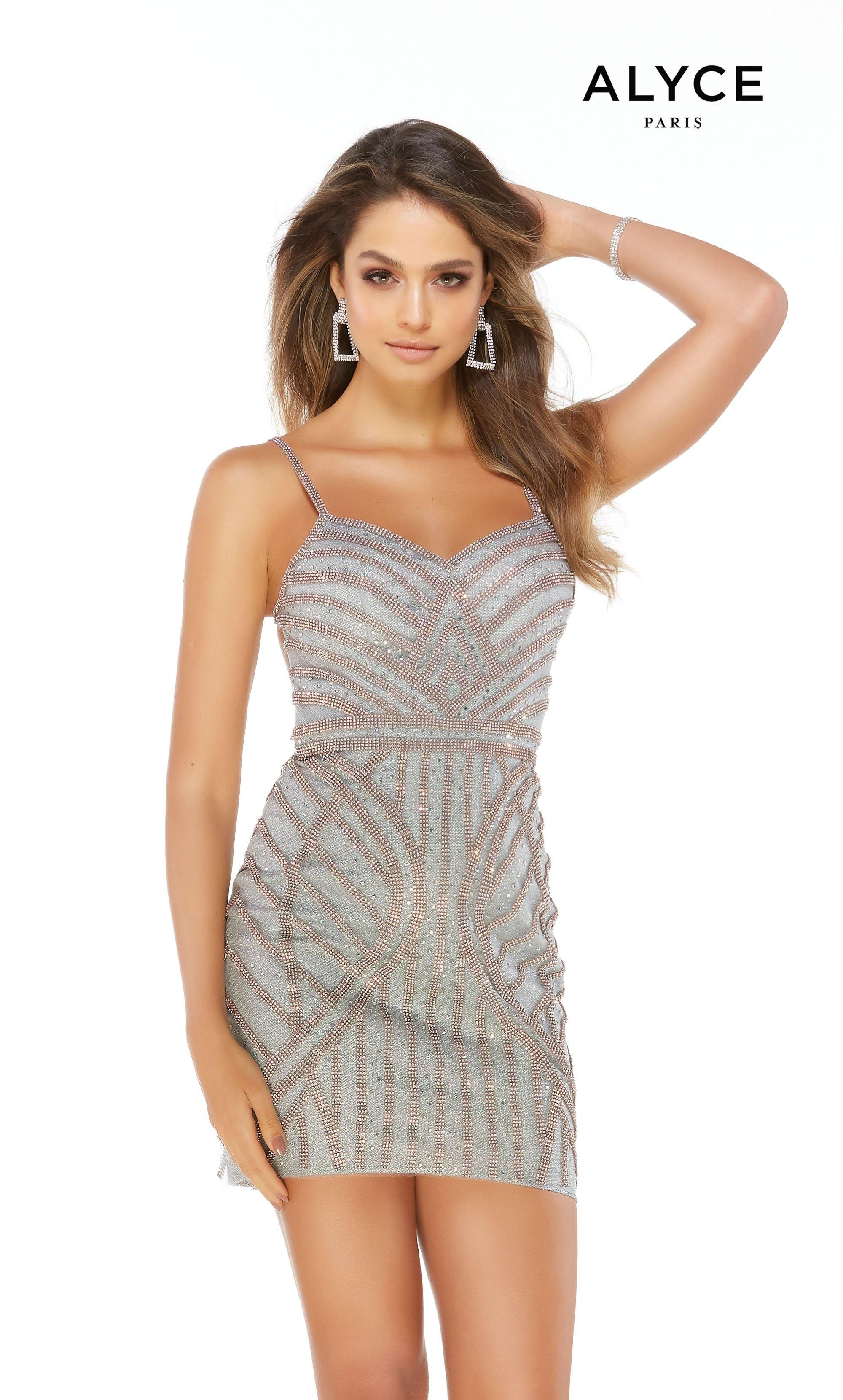 Dark Silver fully embellished mini dress with a sweetheart neckline