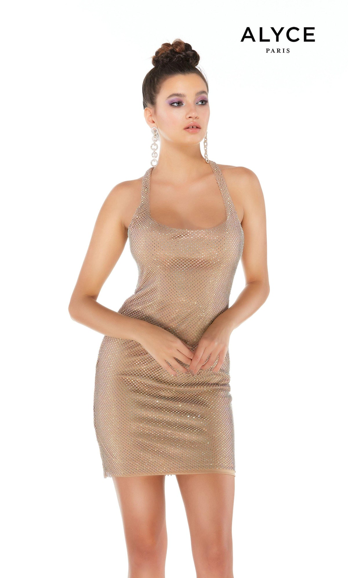 Tan crystal mesh short bodycon dress with a square scoop neckline
