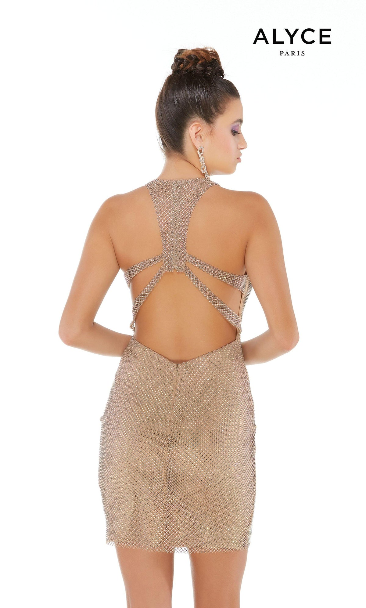 Tan crystal mesh short bodycon dress with a racer back