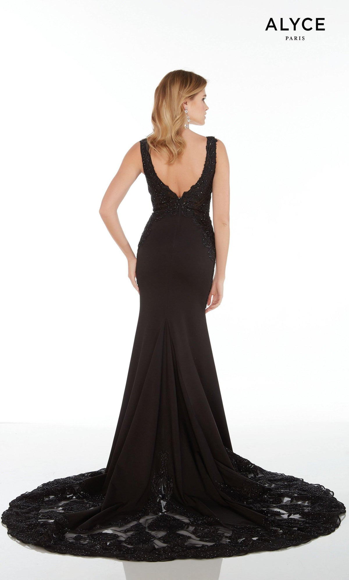 Long Black stretch crepe women's special occasion dress with a V-shaped back, lace detail, and a court train