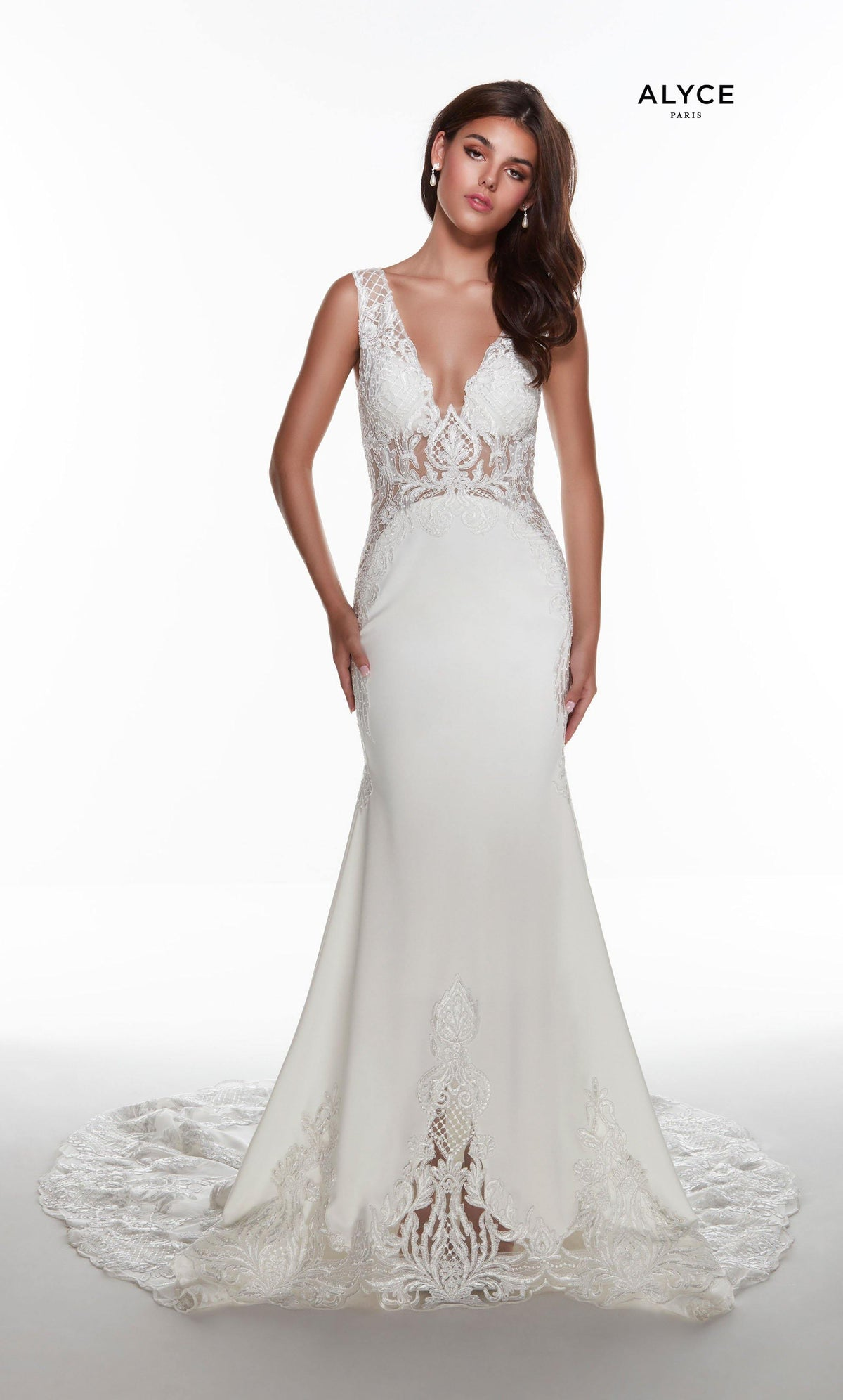 Long Ivory stretch crepe informal bridal gown with a plunging neckline and stone embellished lace detail