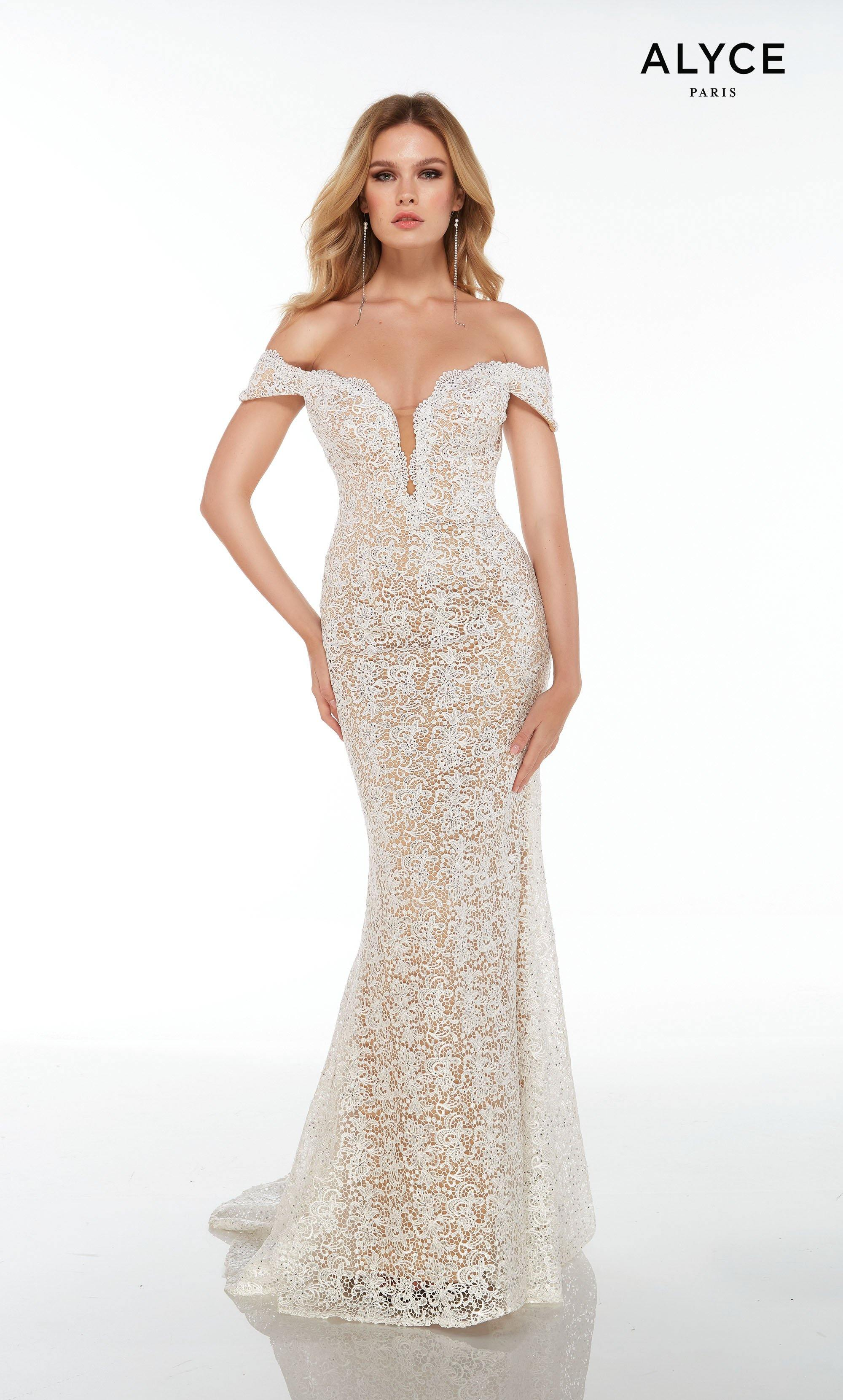 Long White-Nude lace off the shoulder guest of wedding dress with an illusion plunging neckline