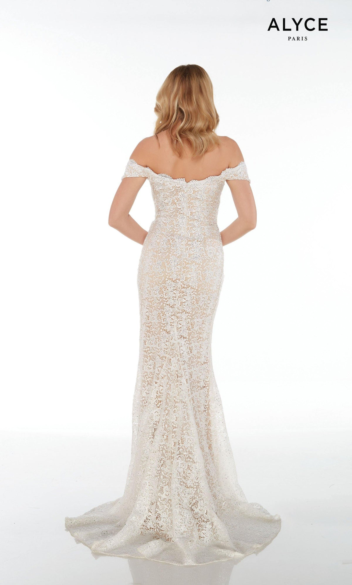 Long White-Nude lace off the shoulder guest of wedding dress with an enclosed back and a train