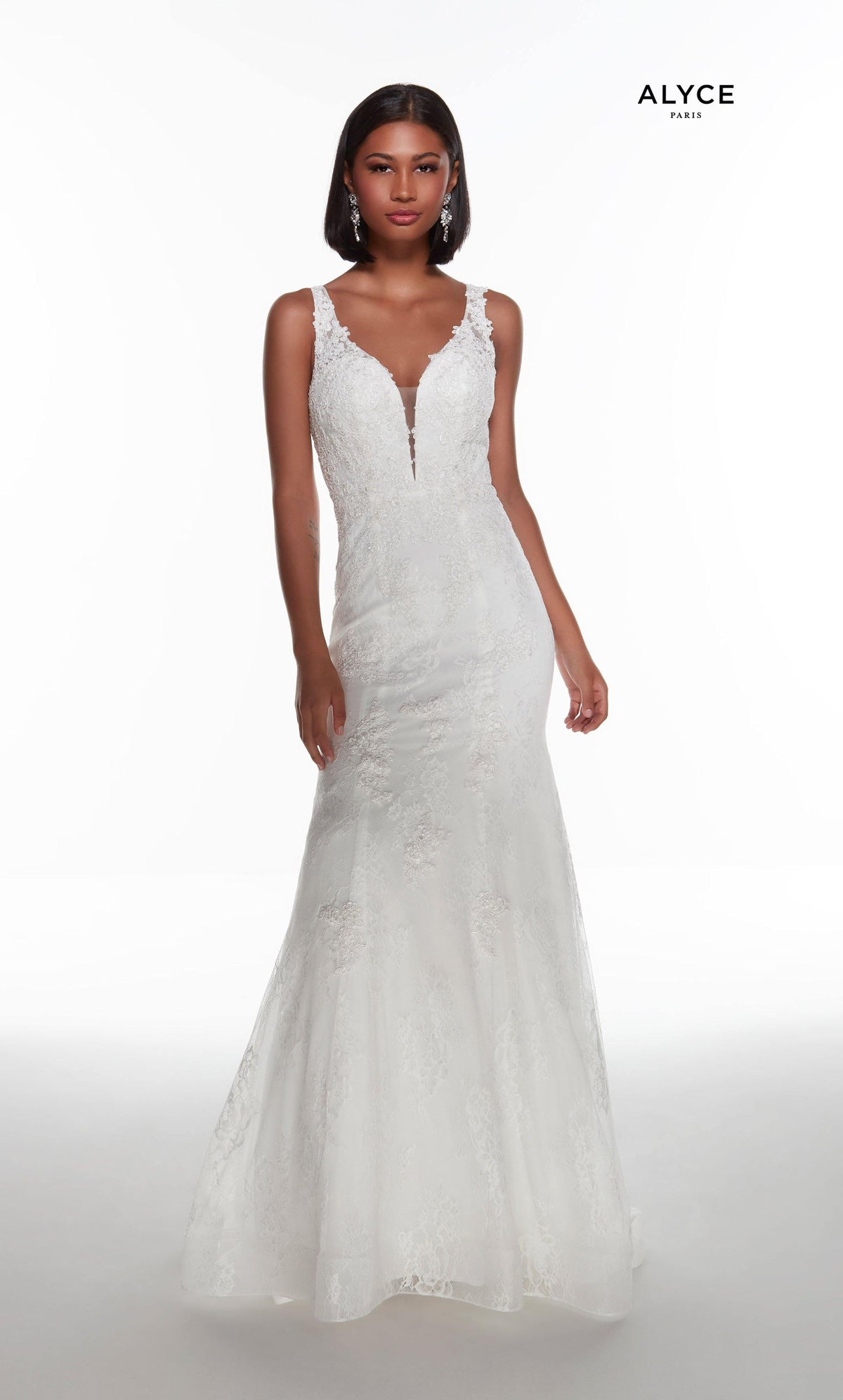 Diamond White lace mermaid style wedding dress with an illusion plunging neckline