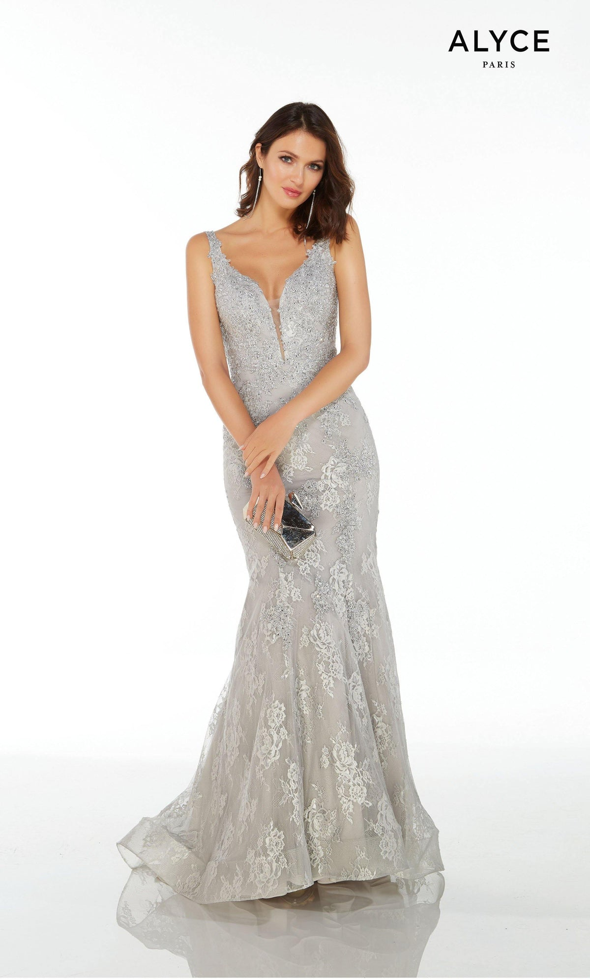 Silver long lace formal dress for women with an illusion plunging neckline