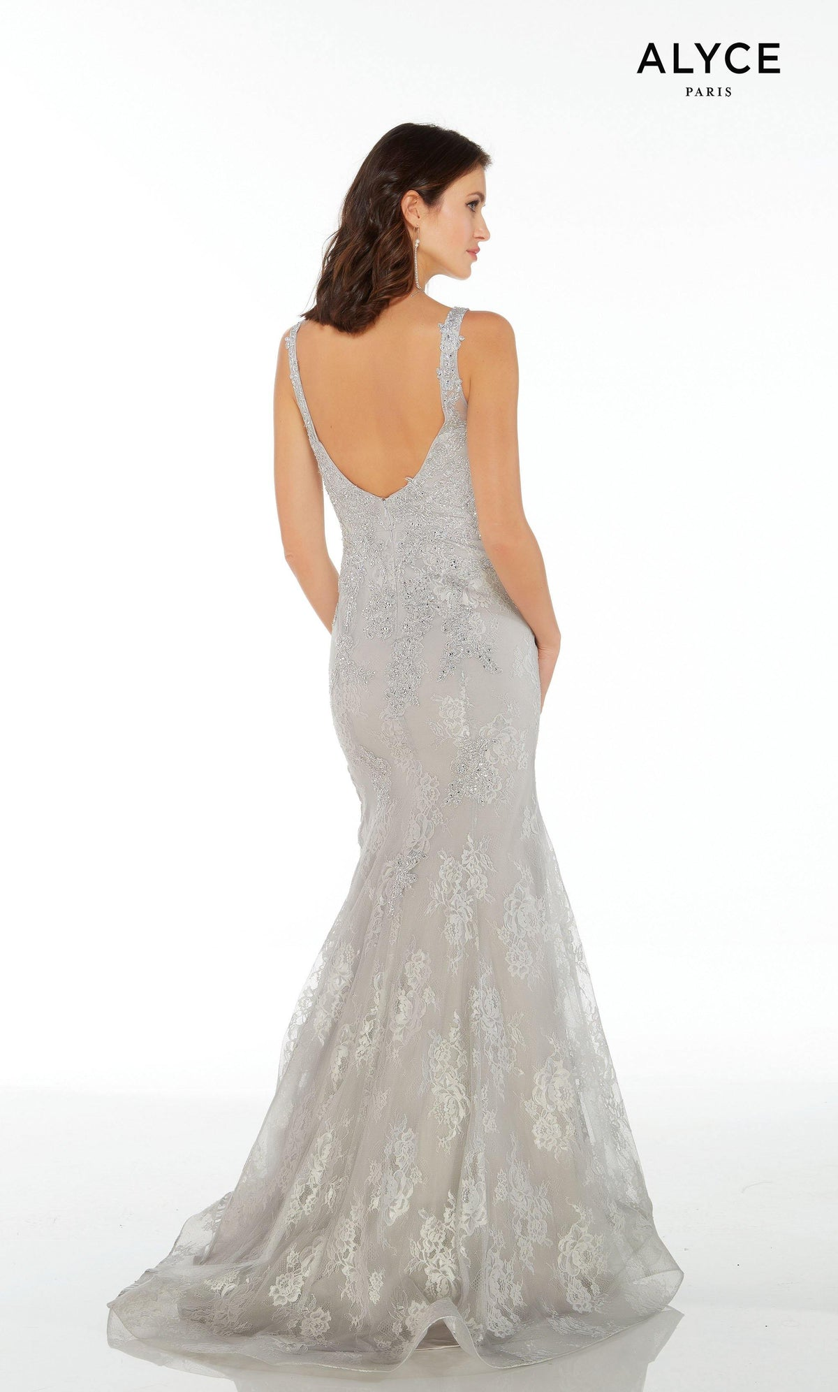 Silver long lace formal dress for women with a V-shaped back and a court train