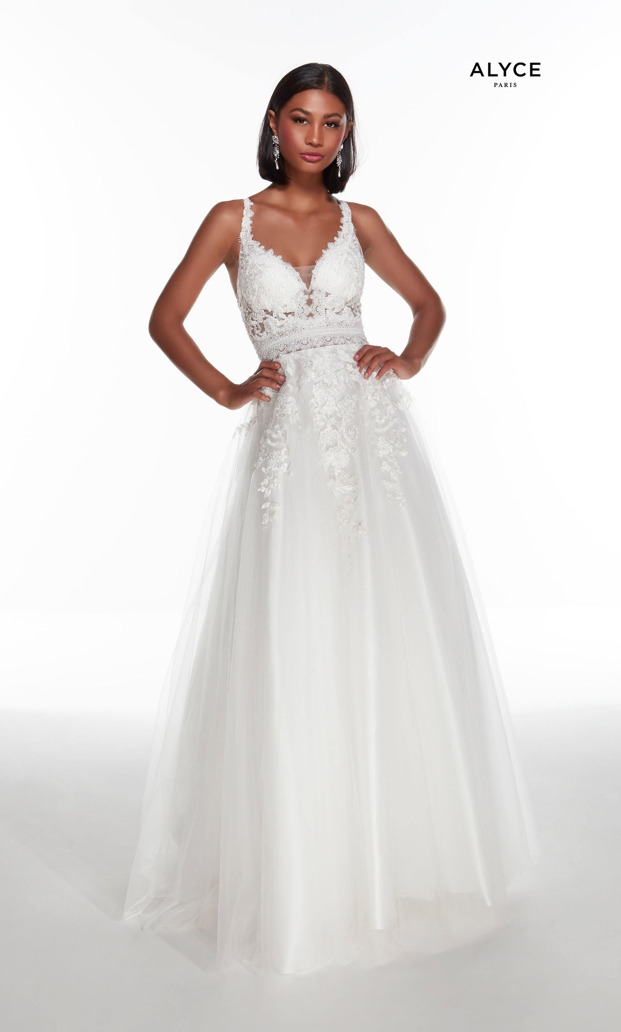 Diamond White embroidered tulle A line wedding dress with a plunging neckline