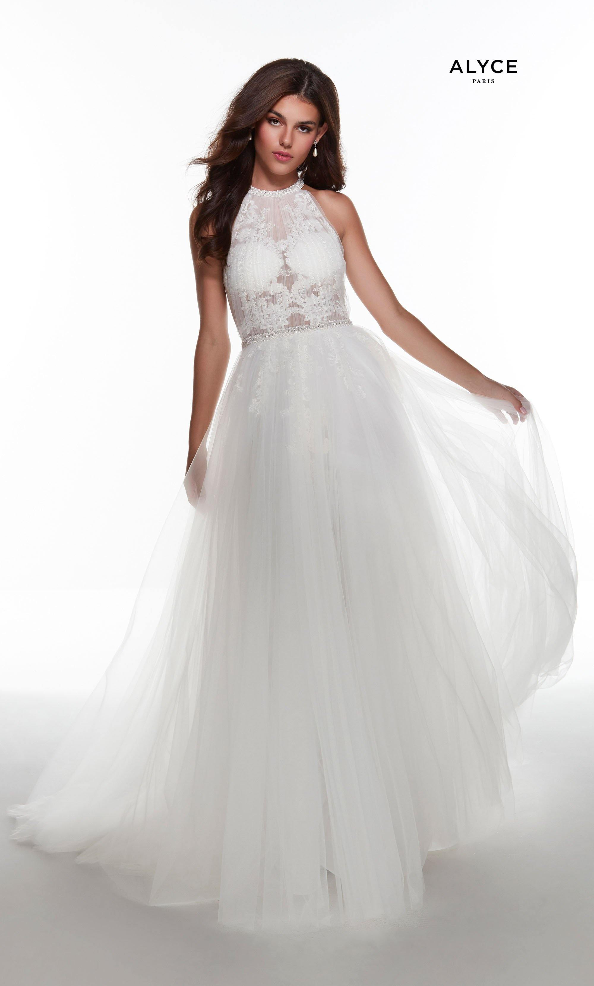 Solid Ivory tulle-lace informal wedding dress with a halter neckline, sheer lace bodice, and beaded waistline