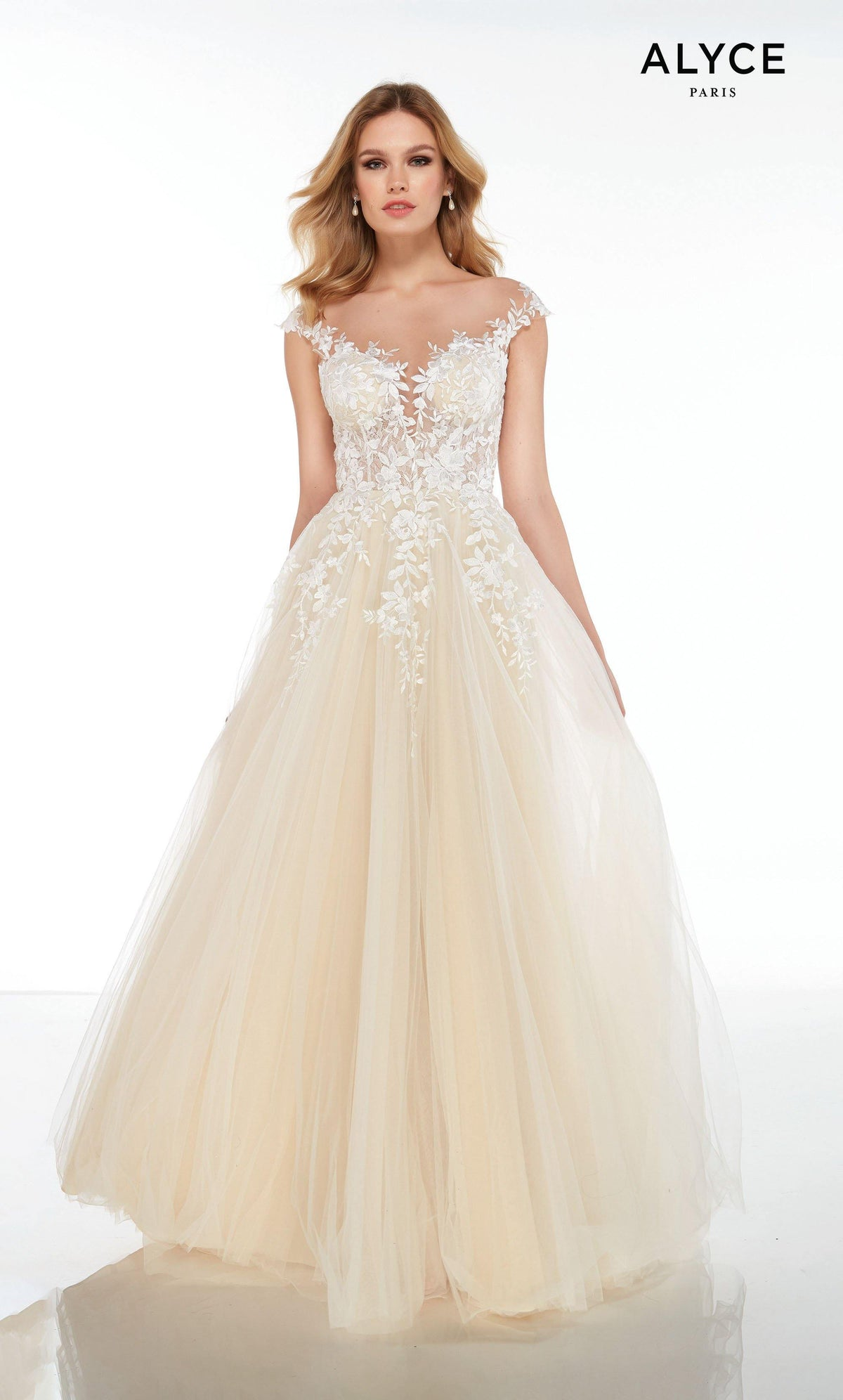 Off the shoulder Ivory-Champagne tulle-lace informal wedding dress with a plunging neckline and a sheer bodice