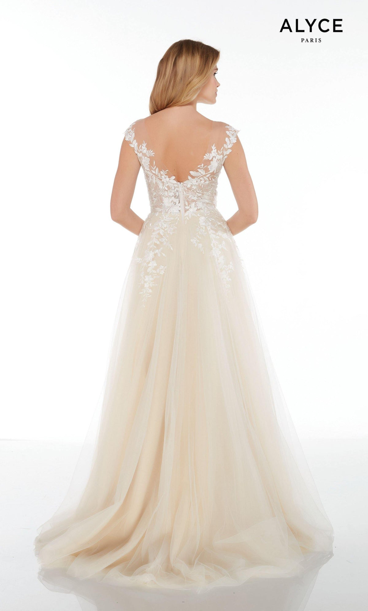 Off the shoulder Ivory-Champagne tulle-lace informal wedding dress with a V-shaped back, sheer bodice, and a train
