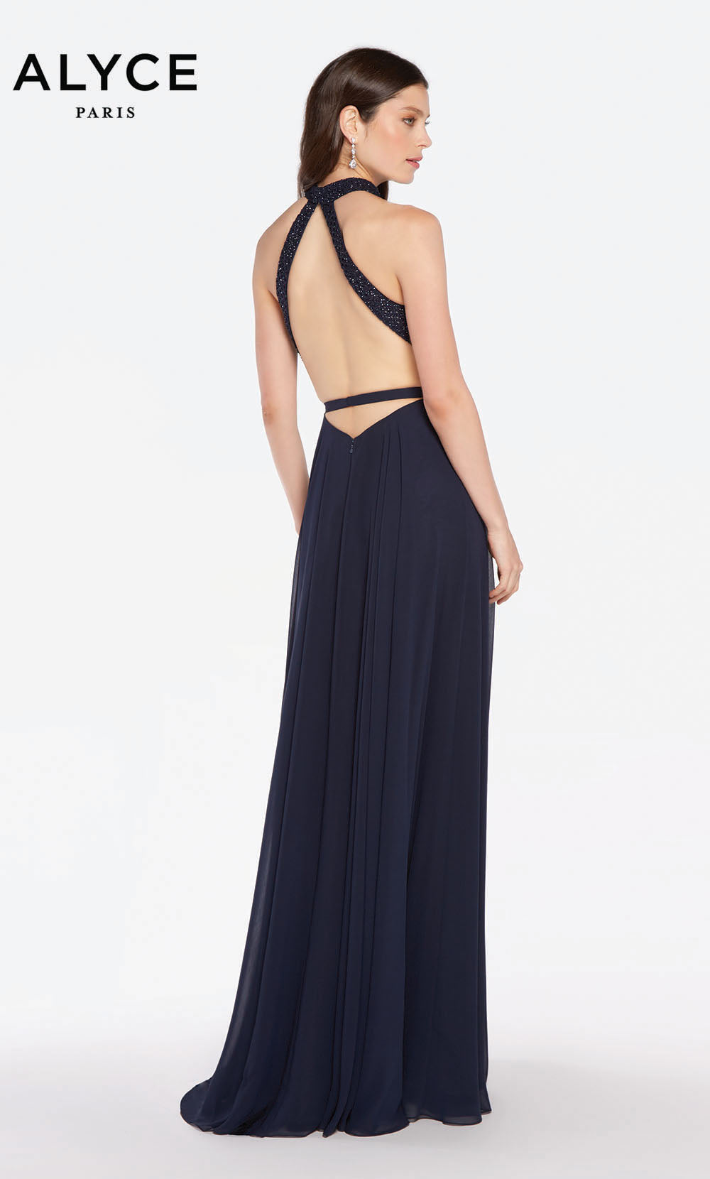 Alyce 60160 long flowy gown with a strappy open back