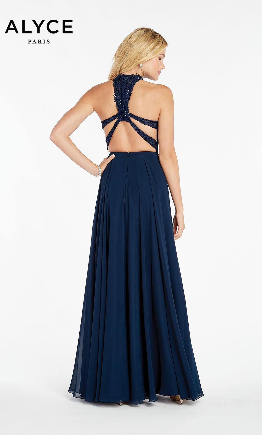Formal Dress: 60354. Long, Halter, Flowy, Racer Back