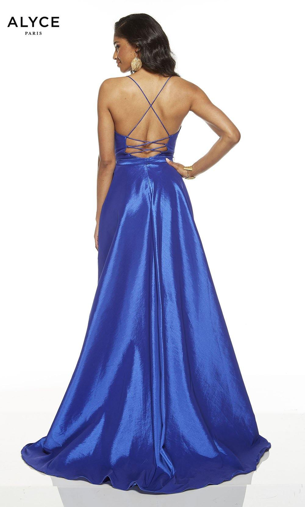 Formal Dress: 60394. Long, V-Neck, High-Low, Lace Up Back