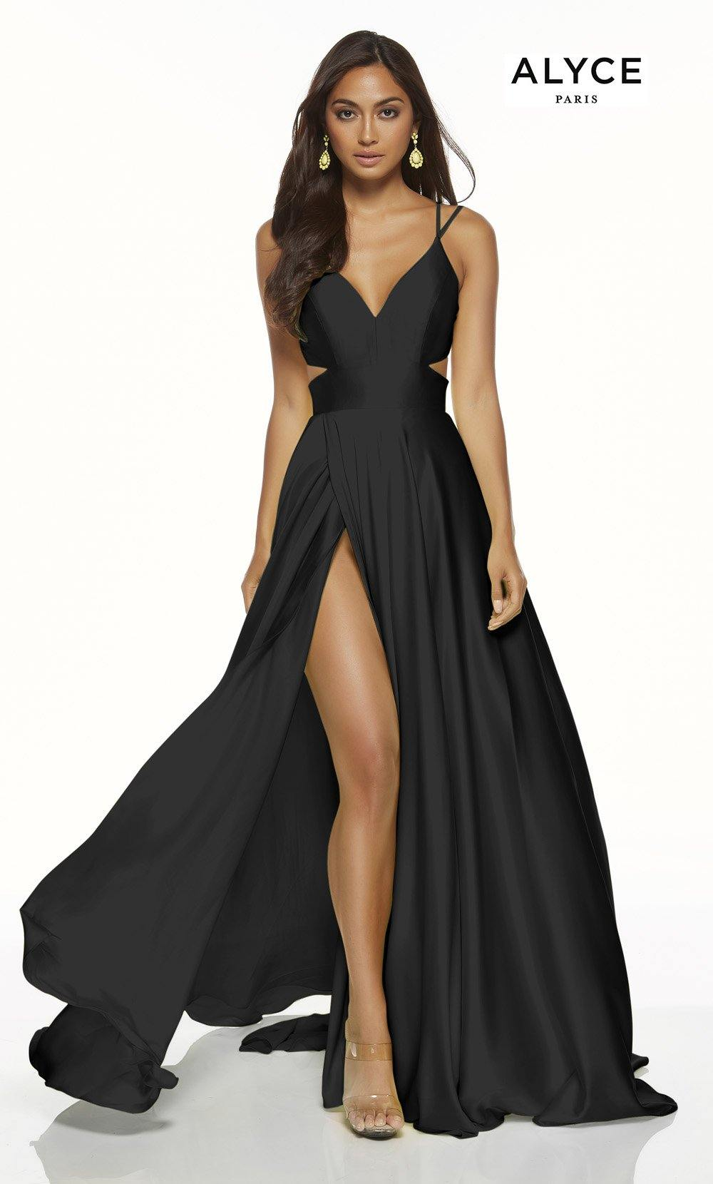 Black flowy satin chiffon formal dress with a V neck, side cutouts, and front slit