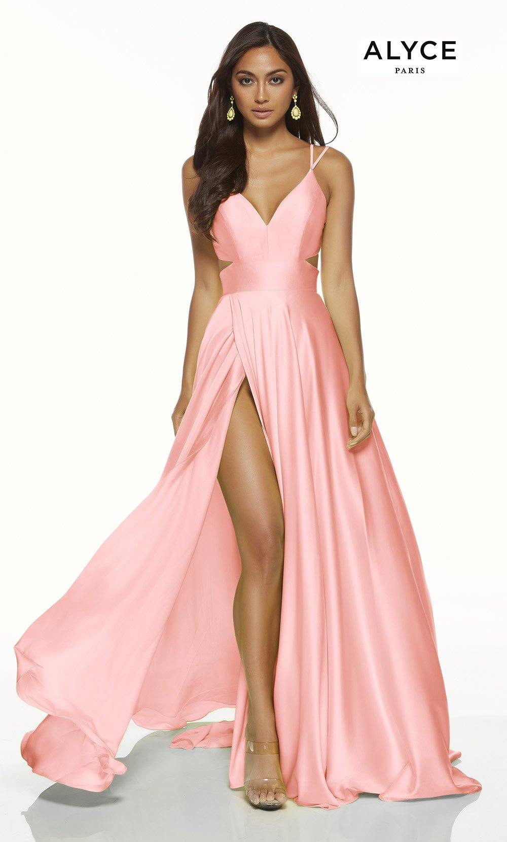 Blush Pink flowy satin chiffon prom dress with a V neck, side cutouts, and front slit
