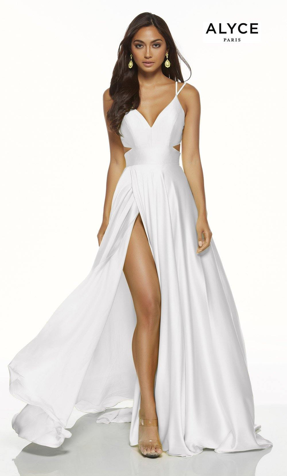 Diamond White flowy satin chiffon beach wedding dress with a V neck, side cutouts, and front slit