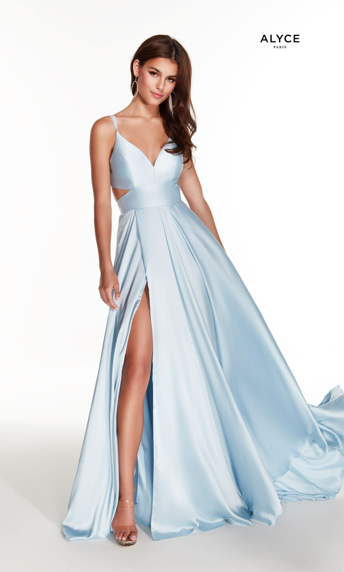 Glacier Blue flowy satin chiffon prom dress with a V neck, side cutouts, and front slit
