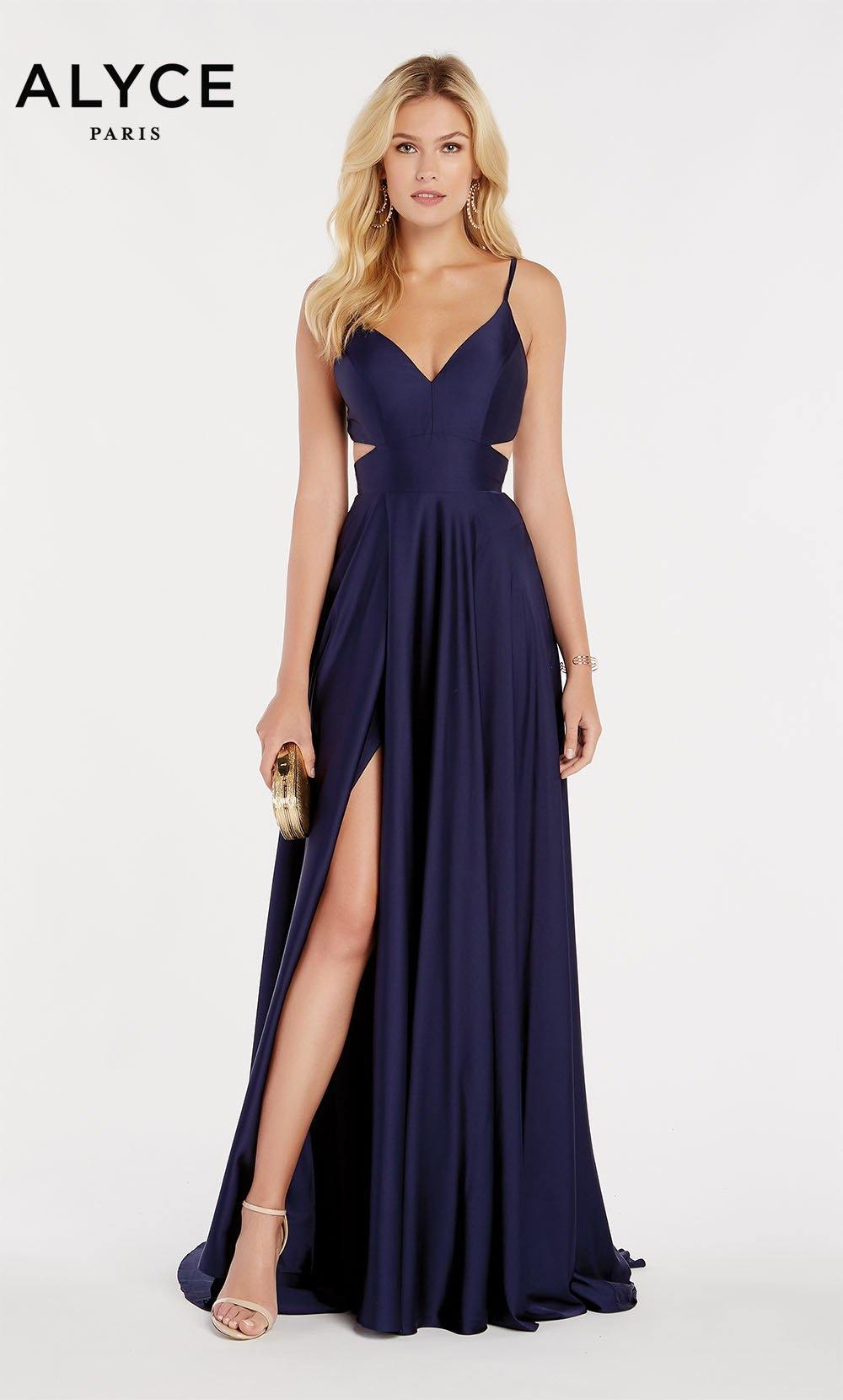 Midnight Blue flowy satin chiffon prom dress with a V neck, side cutouts, and front slit