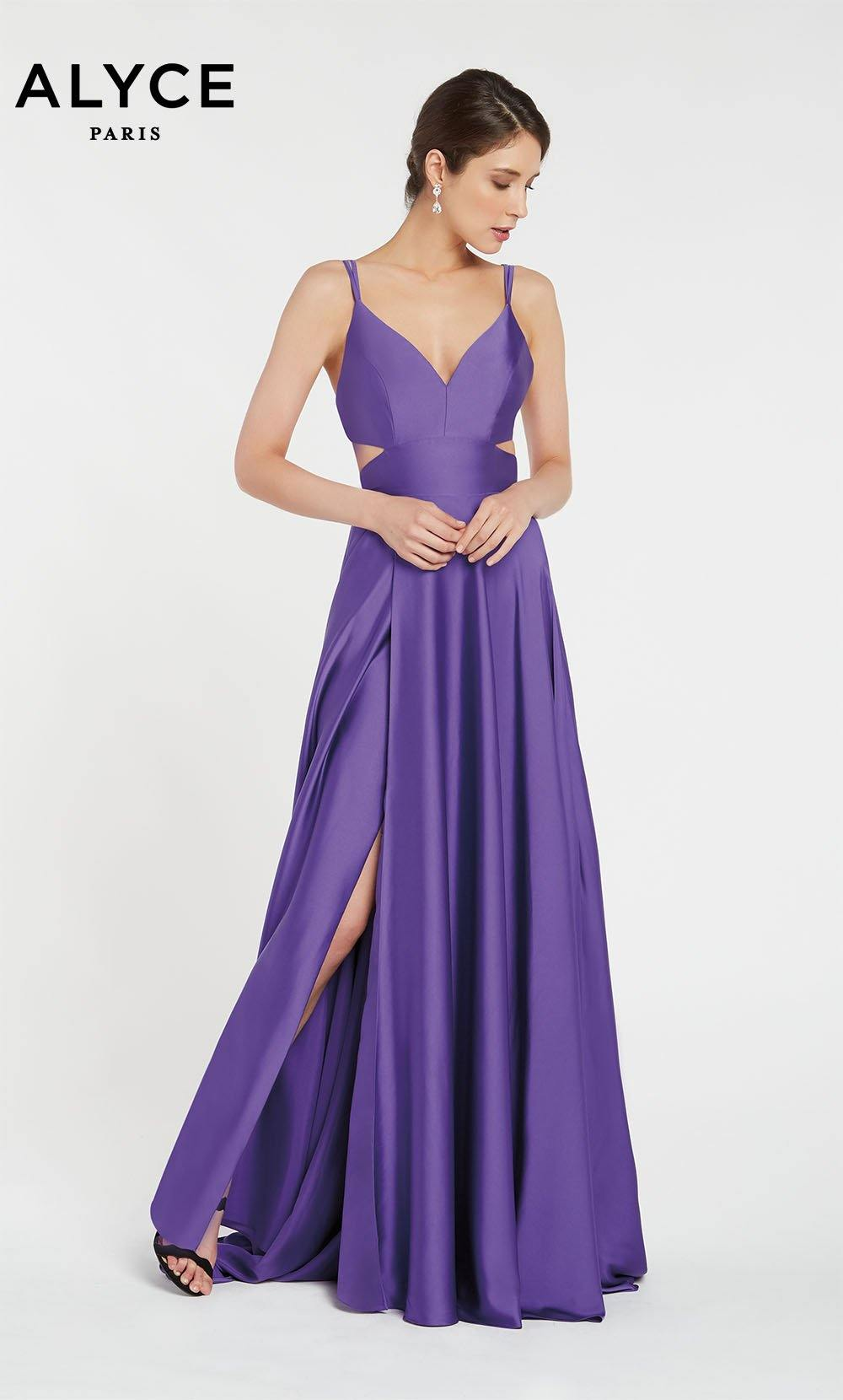 Purple flowy satin chiffon prom dress with a V neck, side cutouts, and front slit