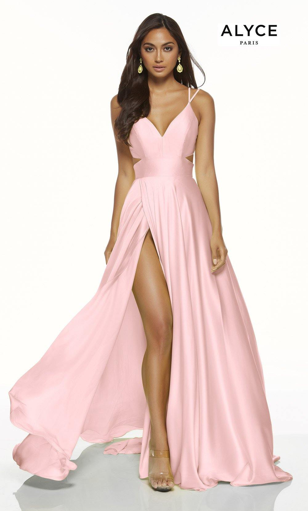 Rosewood Pink flowy satin chiffon prom dress with a V neck, side cutouts, and front slit