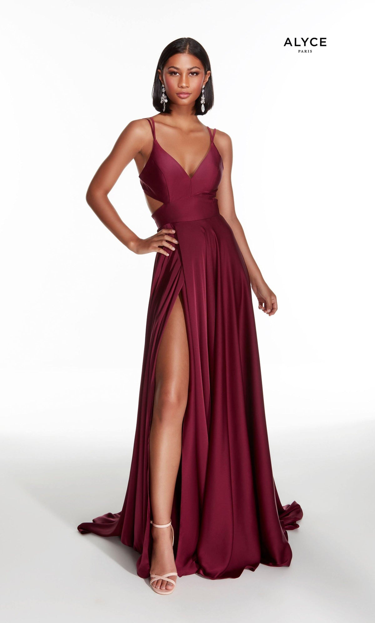 Wine Red flowy satin chiffon formal dress with a V neck, side cutouts, and front slit