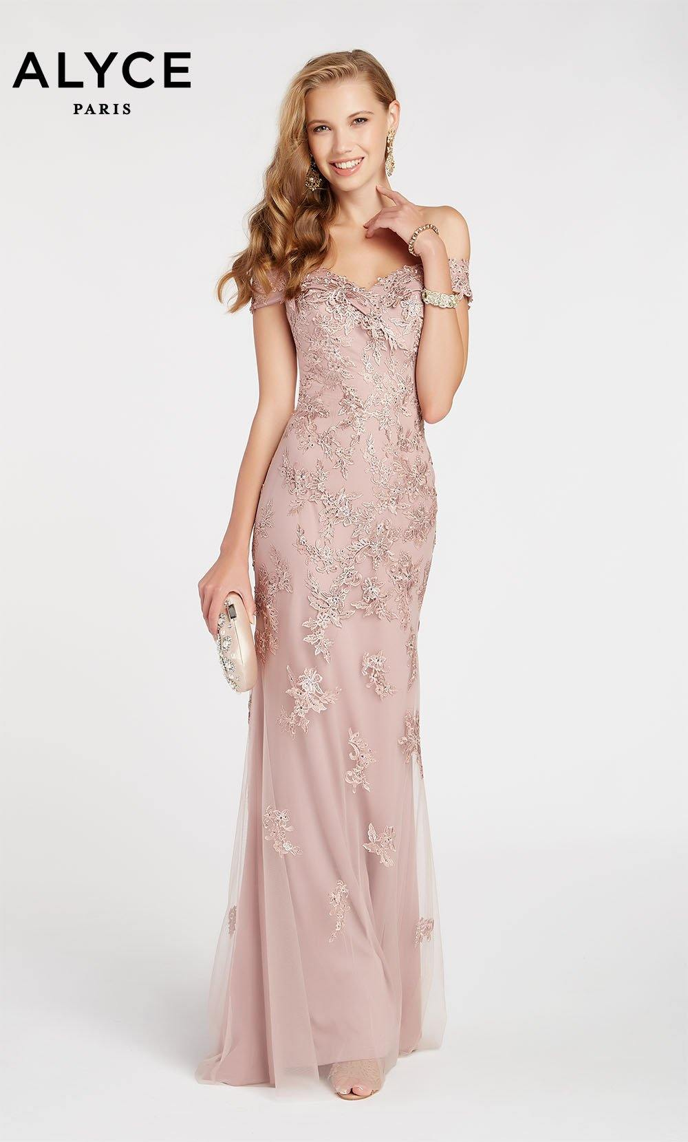Formal Dress: 60497. Long, Off The Shoulder, Medium Fullness