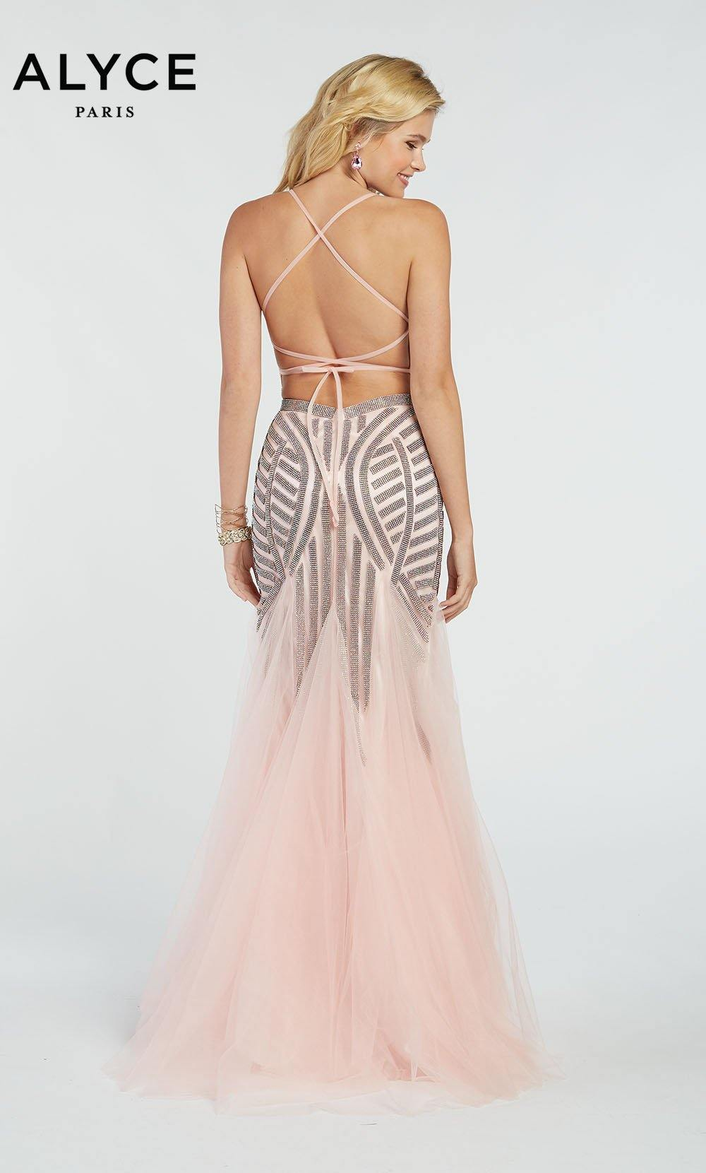 Formal Dress: 60520. Long, V-Neck, Mermaid, V Shaped Back