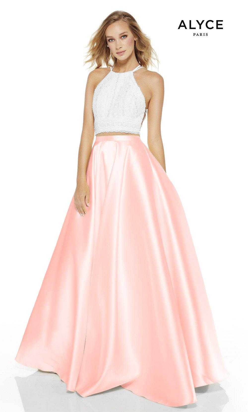 Diamond White-French Pink two piece prom dress with a halter neckline
