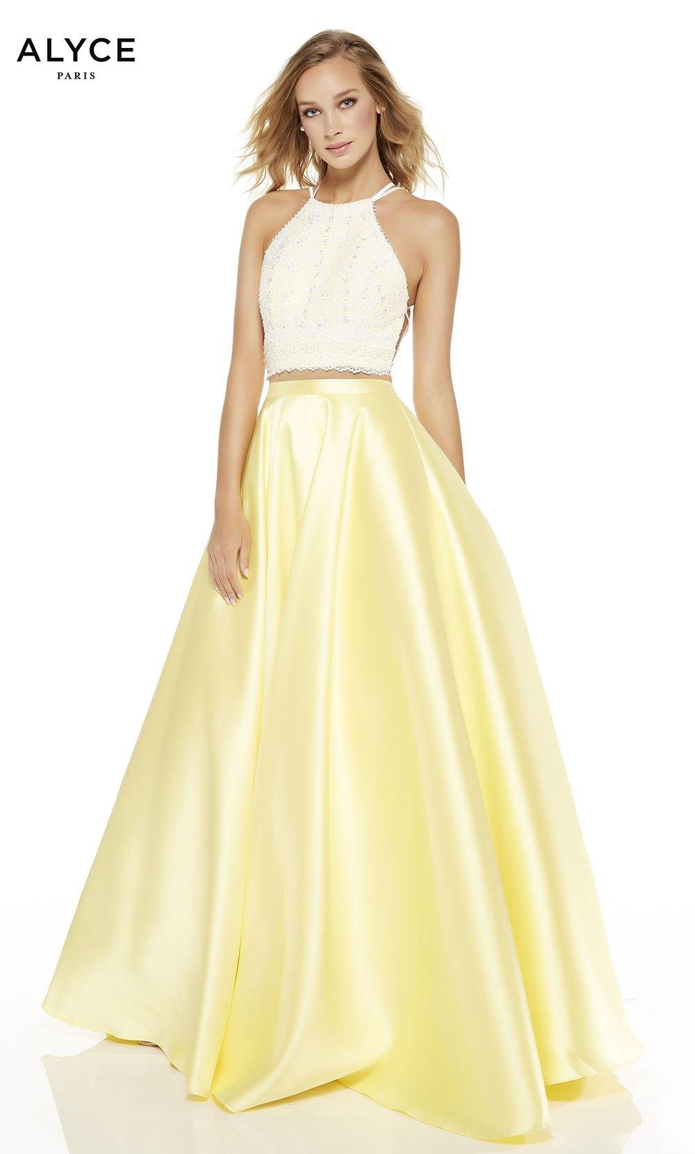 Diamond White-Lemon Drop two piece prom dress with a halter neckline