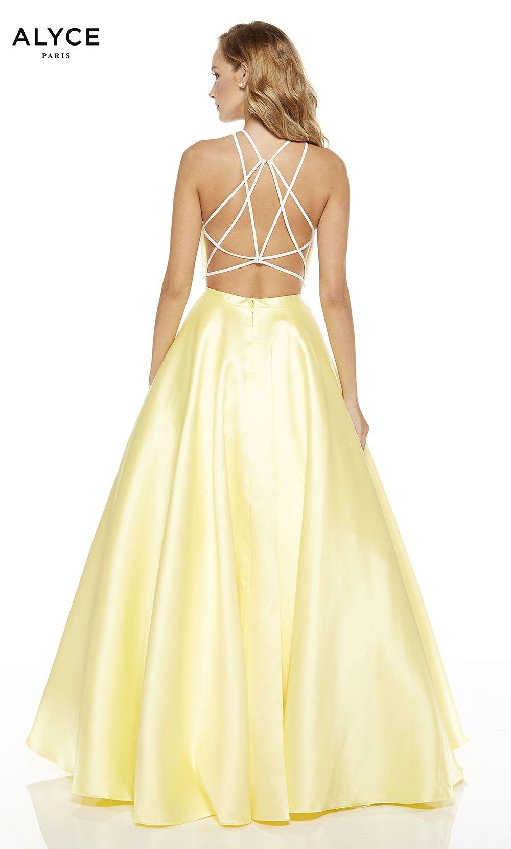 Diamond White-Lemon Drop two piece prom dress with a strappy back