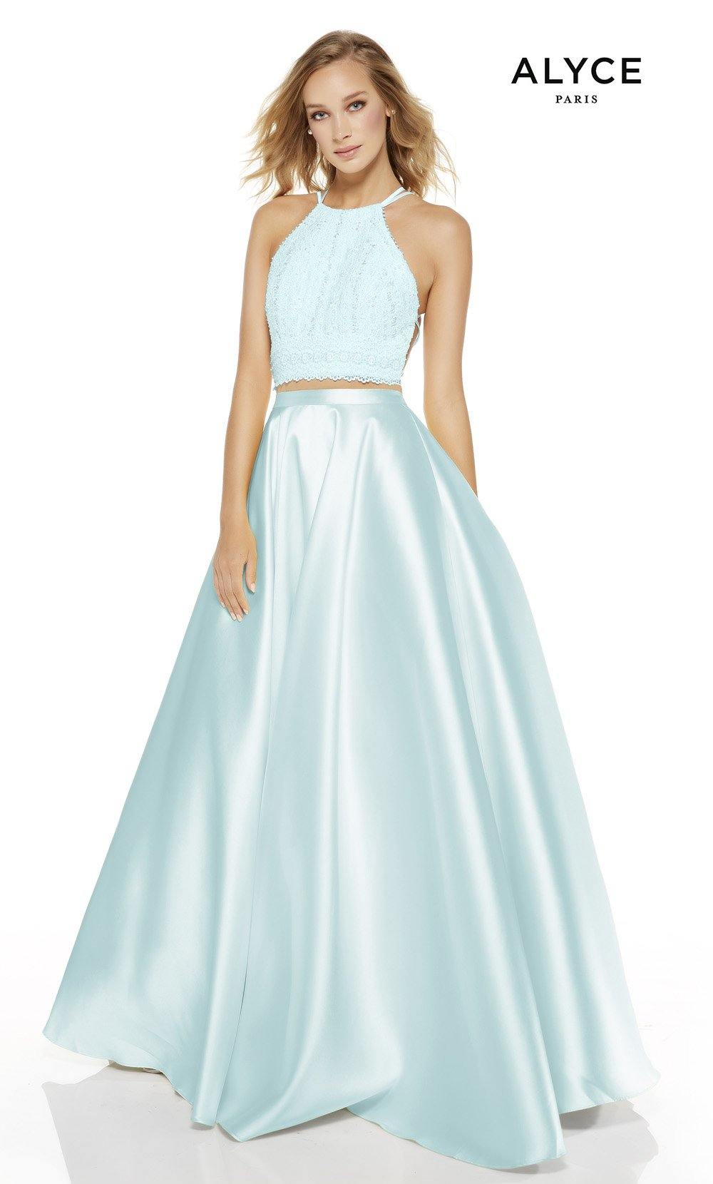 Light Blue two piece prom dress with a halter neckline