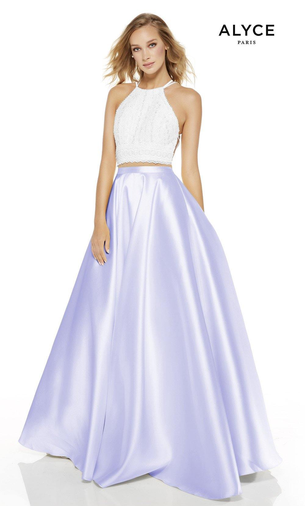 Diamond White-Lilac two piece prom dress with a halter neckline