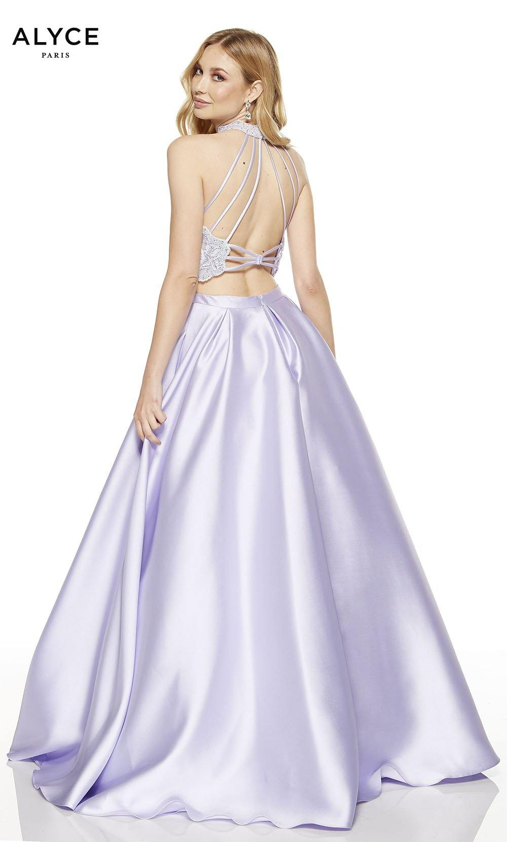 Ice Lilac-Malibu two piece prom dress with a strappy back