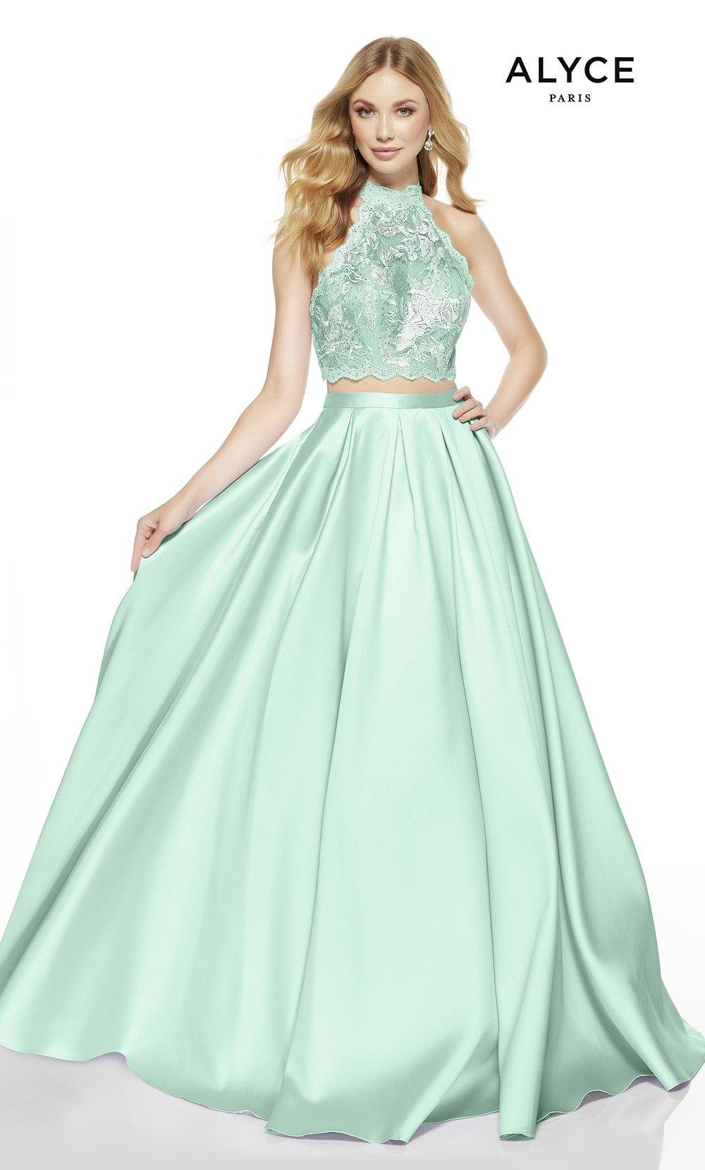 Sea Glass-Malibu two piece prom dress with a scalloped halter top
