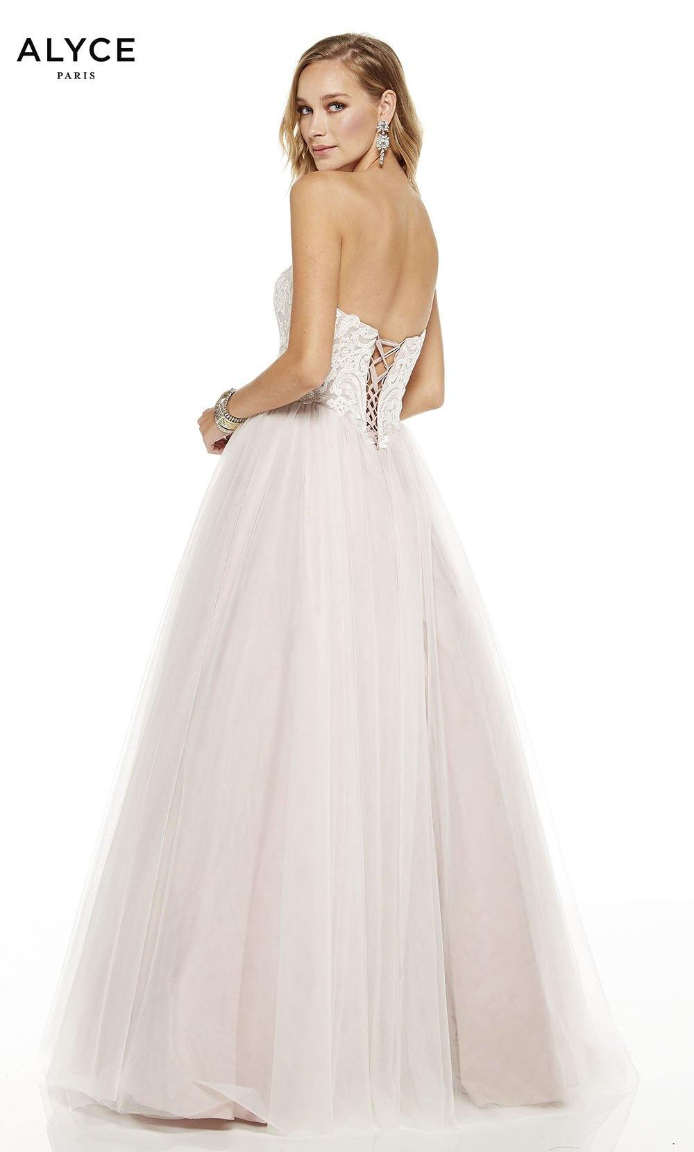 Cashmere Rose strapless tulle ball gown with embroidered bodice