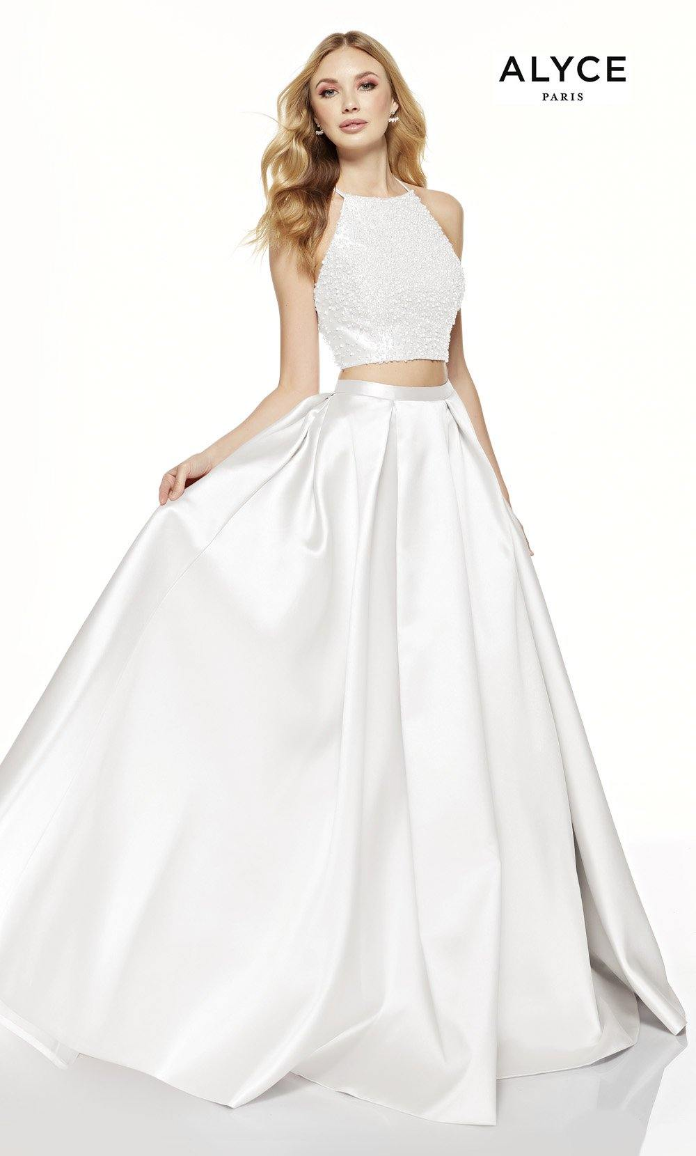 Diamond White two piece prom dress with a beaded halter crop top