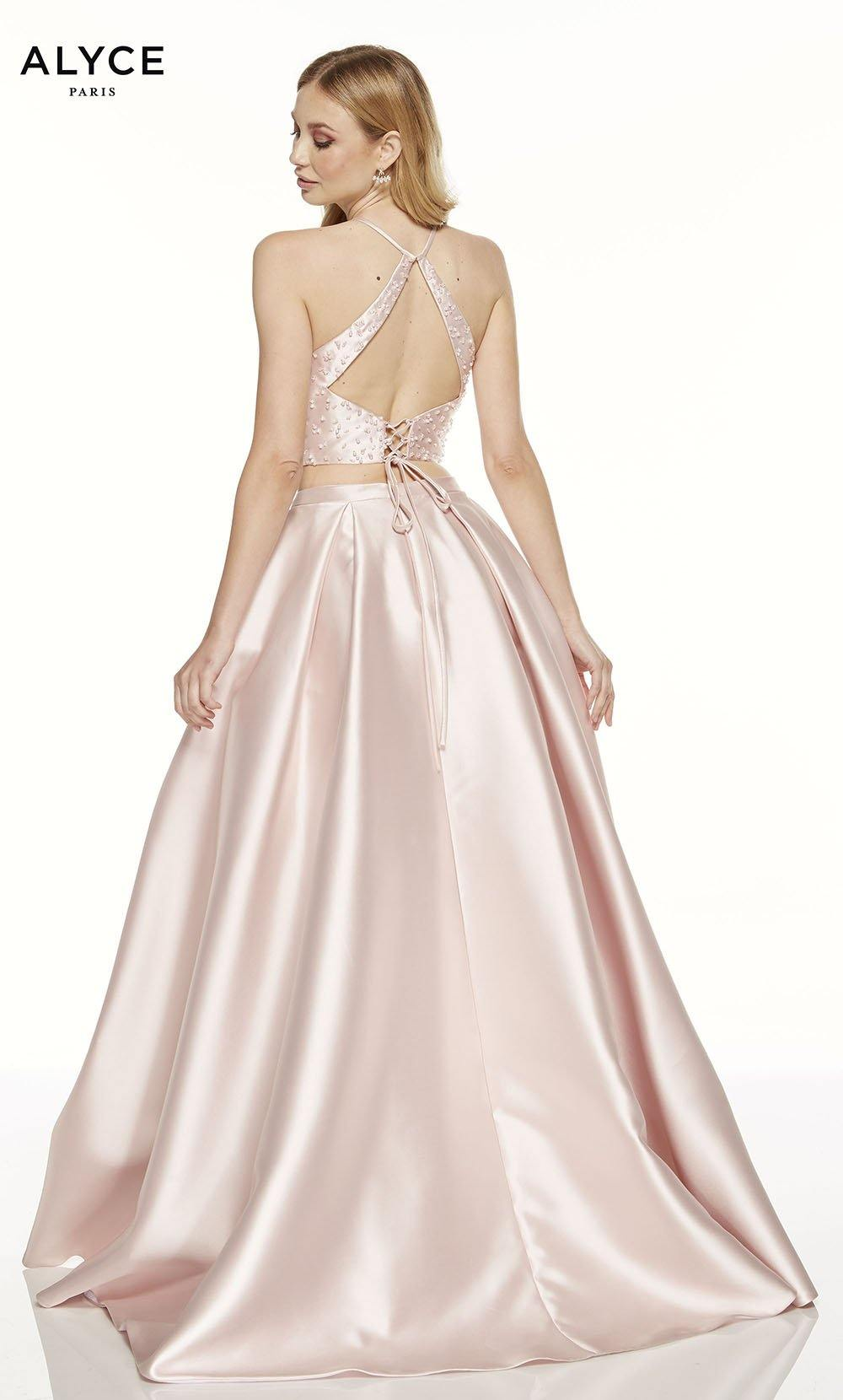 French Pink two piece prom dress with a beaded cut out back
