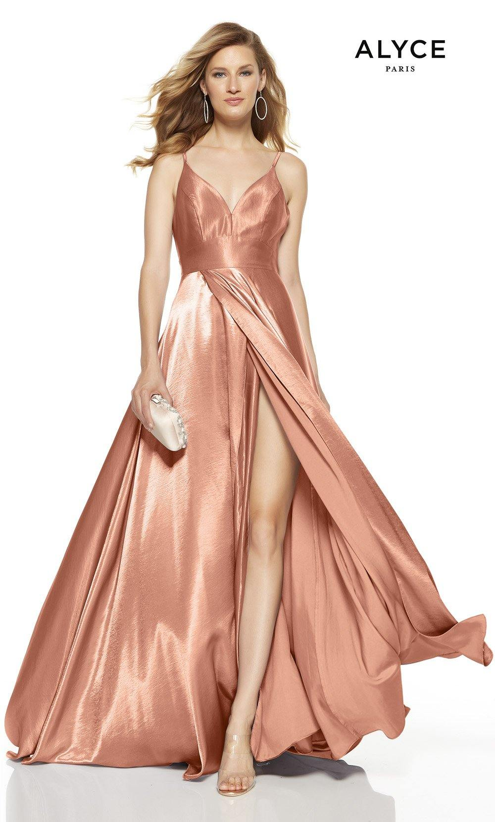 Antique Rose formal dress with a V-neck and a high slit