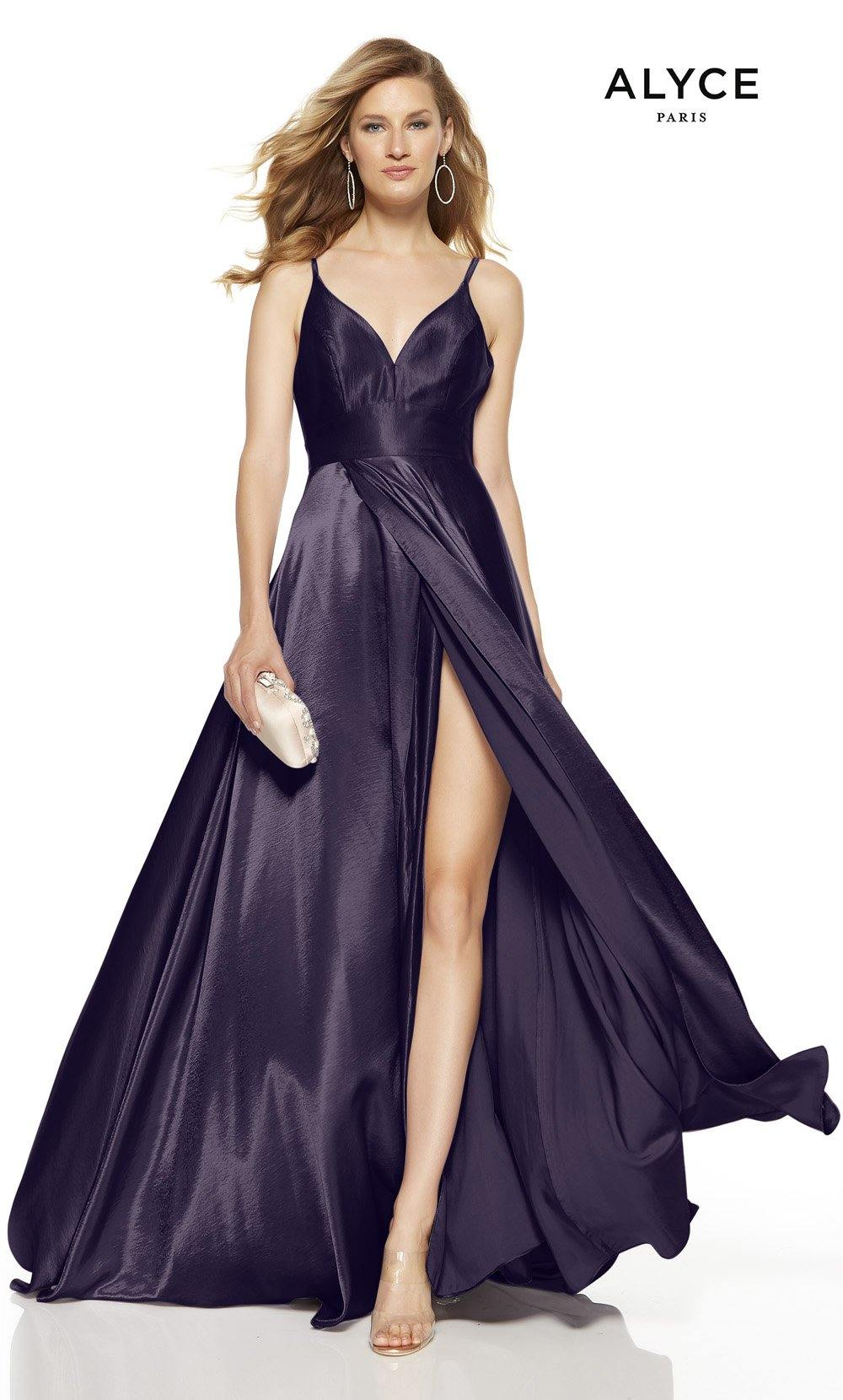 Eggplant formal dress with a V-neck and a high slit