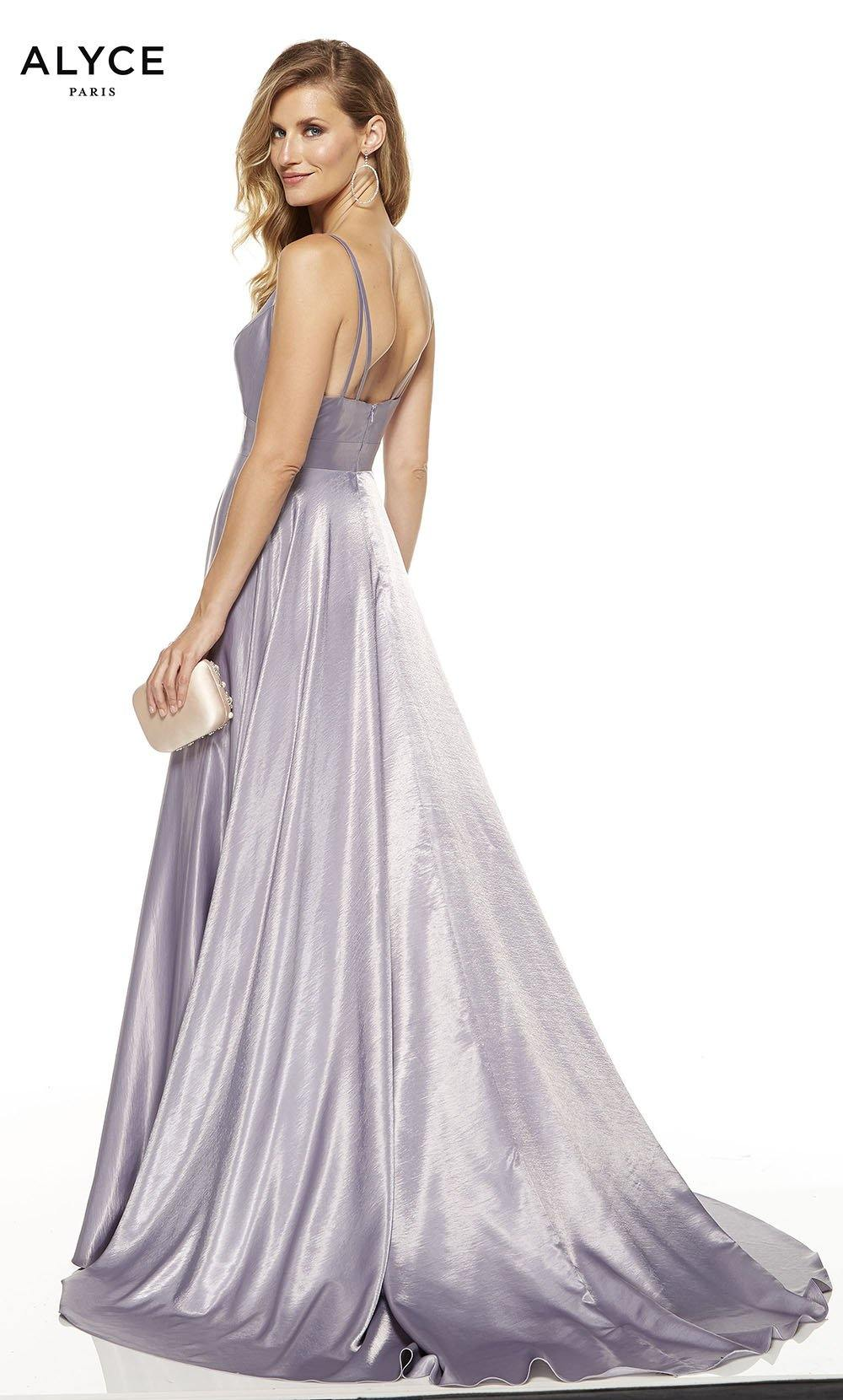 Lilac-Grey formal dress with an enclosed back