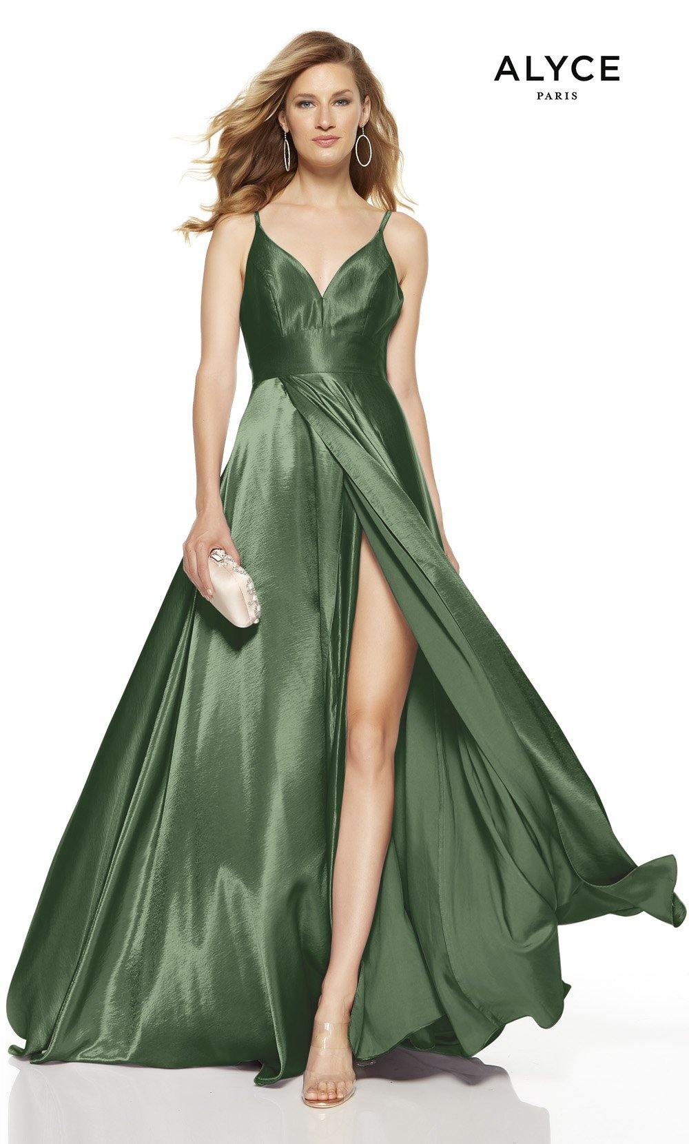 Sage Green formal dress with a V-neck and a high slit
